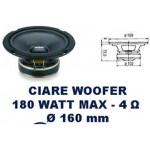 Cabinet Loudspeaker woofer 180 watts into 4 ohms max diameter 165 mm CIARE CW161N