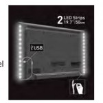 LED retro TV strip - white light - 2x50 cm - BARK-L10