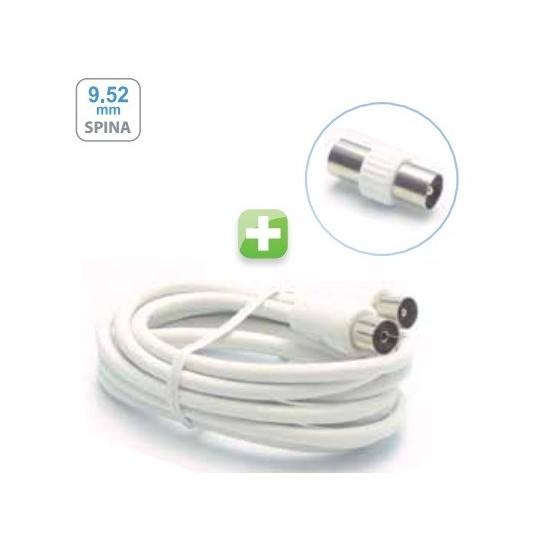 metronic cavo  cavo-prolunga-coassiale-tv-25-m-adattatore-mf-bianco-metronic-438025