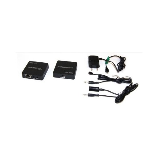 HDMI SIGNAL EXTENSOR ON ETHERNET CABLE 55M 'PoC' WITH HDMI PASS PORT AND REMOTE CONTROL REPEATER - GBC 14281040