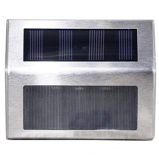 SEGNA PASSO ad energia solare, IP44, 3 LED 36lm, Batt.600mAh,Autonomia a piena carica 10 ore,Acciaio - LIFE 39.9PLS113S