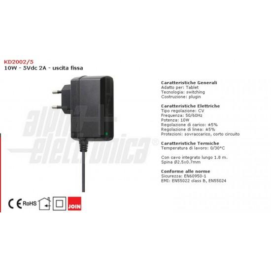 Fuente de alimentación de 10W de salida fija Alfa Electrónica de conmutación KD 2002/5 5Vdc 2A